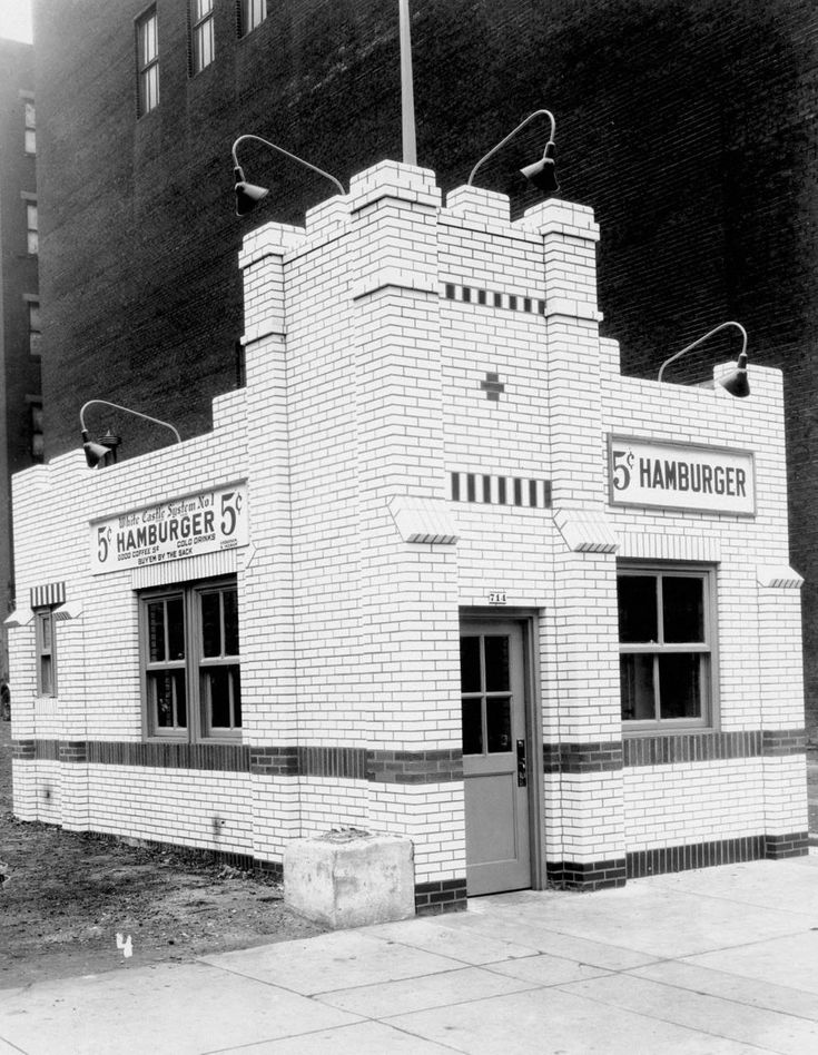 """First White Castle (in Ohio) This image depicts the first Ohio White Castle, built in Cincinnati in 1929. This image measures 7.25 by 9.25"""" (18.42 by 23.50 cm). In the 1920s, White Castle introduced the concept of fast food, chain restaurants and """"sliders"""" to the American people. Billy Ingram and Walter Anderson founded the White Castle restaurant chain in Wichita, Kansas, in 1921. Seeking a more central location as the business expanded,."""