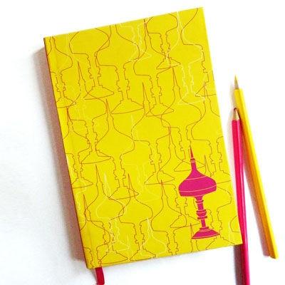 Designed by Arpit Agarwal | Traditional Assamese Symbol Xorai Pattern Notebook- Sunshine Yellow / Rs.259