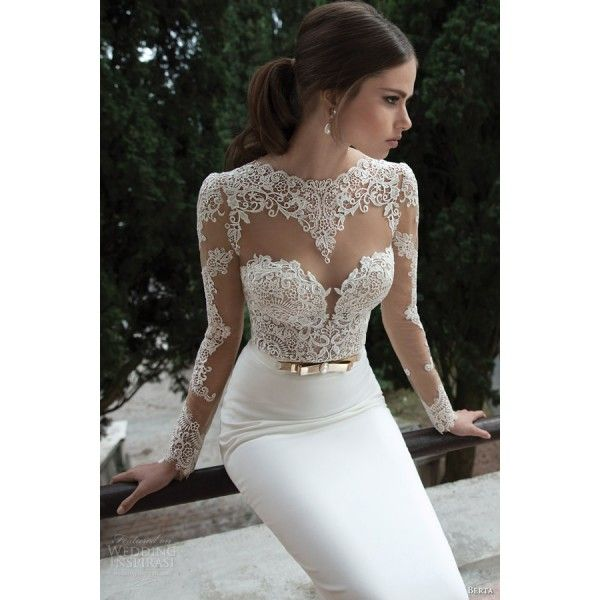 Open Back Satin Mermaid Wedding Dress With Lace Long Sleeves