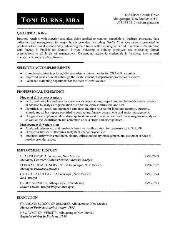 Example A Chronological Resume Sample Resume Format