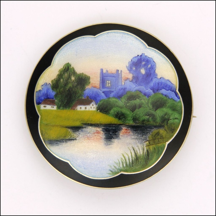 Large Art Deco Slver Enamel Scenic Pin - Thorlief Johnson - Norway