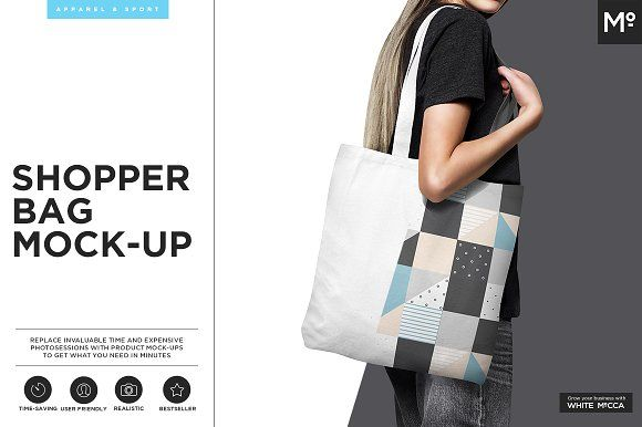 Canvas Shopper Bag Mock-up by Mocca2Go/mesmeriseme on @creativemarket