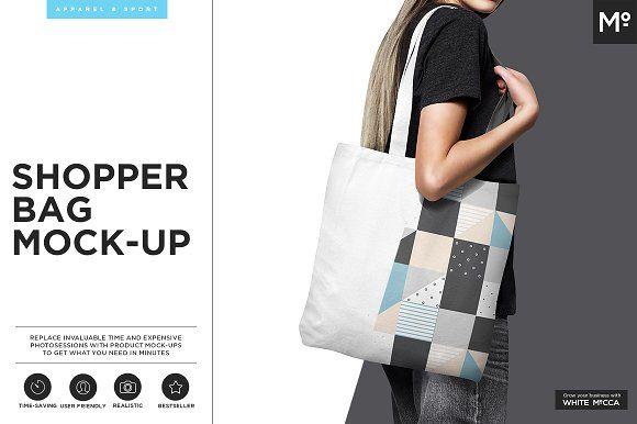 Canvas Shopper Bag Mock-up by Mocca2Go/mesmeriseme on @creativemarket