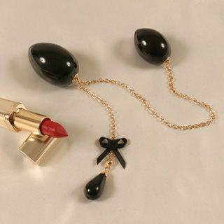 Palline a forma di uovo i pietra dura vaginale e anale con pendente, catenella placata oro