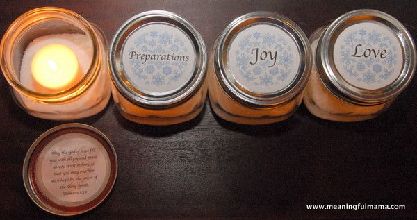 "3> - Mason Jar Advent ""Wreath"" with Printable - change interior of jar with greenery-berries"
