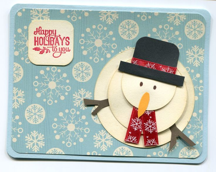 By Jennifer Perkins. Might want to add a mouth and buttons on snowman -- maybe with Pearl Pen? Or VersaMark pen embossed in black? Or maybe just little punched black circles. Need a better designer paper for background. Sponge edges of snowman circles. Scarf and hatband from Christmas ribbon.