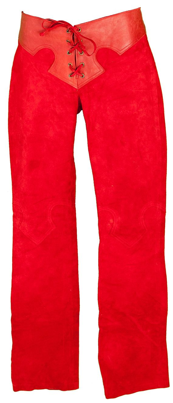 Description: 1980s Small Red Suede Softest Buckskin Leather Pants with leather detail applique at waist, low rise with lace up front, Detail stitching at knees. NOTE: These pants sit at the low waist, so the 28 low waist waist may be misleading. Please measure to ensure fit - we estimate this to fit more like a womens XS to SMALL.  Condition: Good. Garment is in condition consistent with age. Leather has some natural variations.  Estimated Sizing: Womens XS to Small.  Pants measure 28 low…
