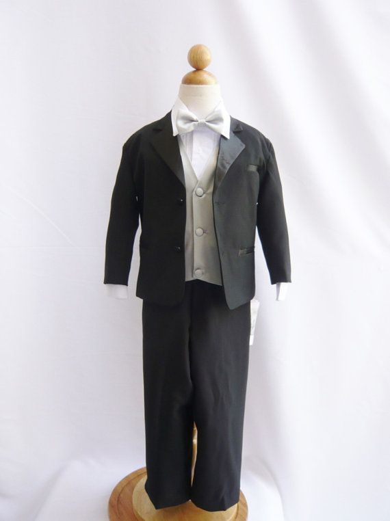 Tuxedo to Match Flower Girl Dresses Color in Black with Silver Vest for Toddler Baby Ring Bearer Easter Communion Bow Tie