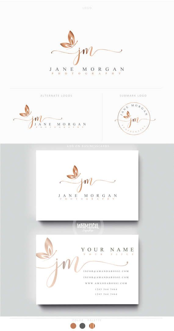 Minimal Script Butterfly Photographer Logo Kit Initials Etsy Fashion Business Cards Photographer Logo Card Banner