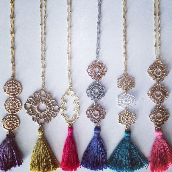 Filigree Metal Lace Silk Tassel Necklace | Stitch and Stone
