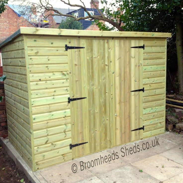 Height 5ft 6in: Bike Store Shed 16mm Tanalised Timber Pent Roof Max Height 5ft 6in. Double doors or Single door either in the width or depth