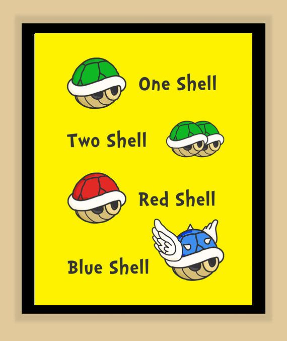 Dr Suess Super Mario Brothers One Shell Two Shell Nursery print poster children