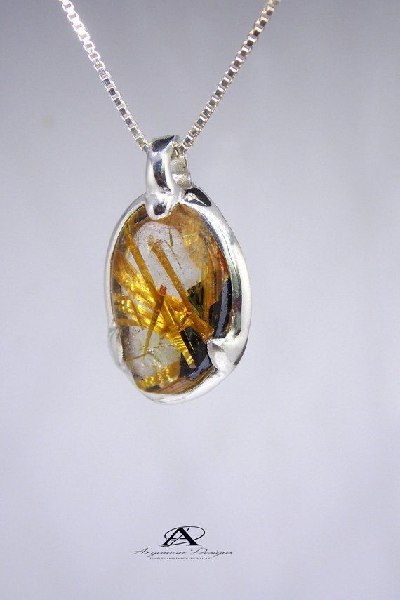 Hairworm Quartz Pendant Golden Rutilated Pendant Crystal Etsy Rutilated Quartz Pendant Energy Jewelry Quartz Pendant