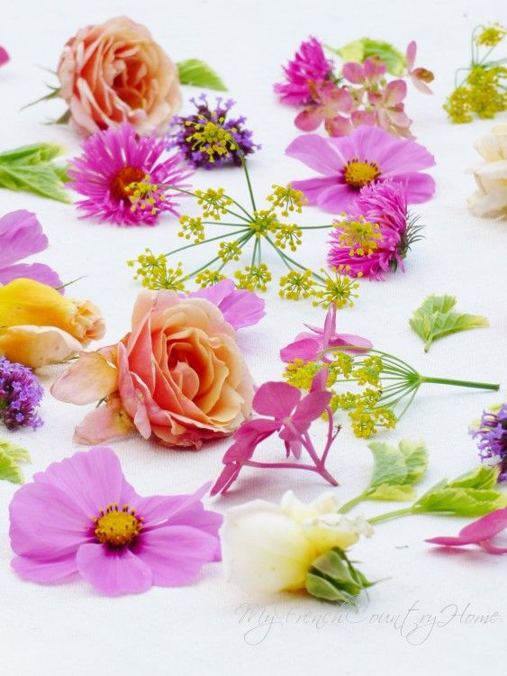 scattered blooms on the dining table, no vases or foam, just scattered blooms