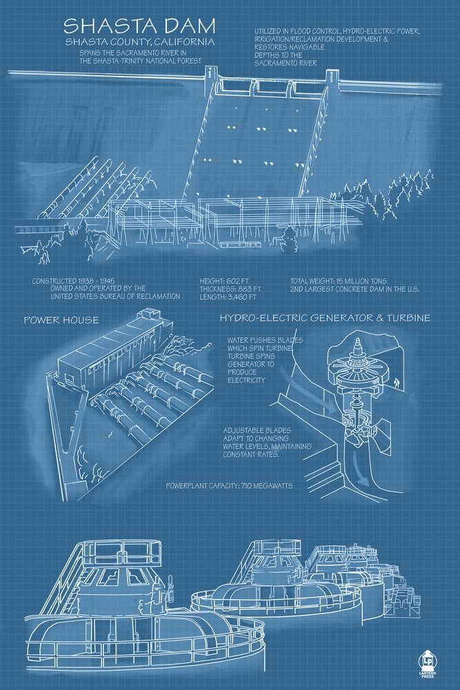 Print (Shasta Dam, California - Blueprint - Lantern Press Artwork)