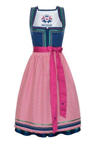 Midi Dirndl 70er blau-pink Laura