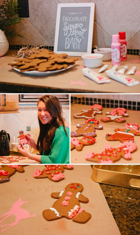 "Gingerbread ""baby"" decorating station at a ""Peppermint & Pine Cones"" Themed Winter Baby Shower"