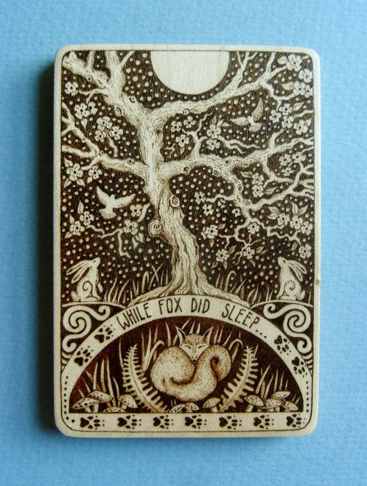 'While Fox did Sleep'    Little wooden Miniature- pyrography on small Sycamore Tile.    Includes short verse which begins on the front and continues on the back:  'While Fox did sleep  White Hares did keep  Bright watch upon the moon,  And as the old Year passed away  The Sacred Tree did bloom.