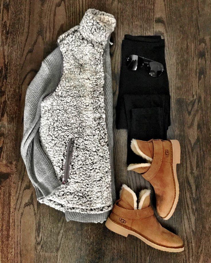 IG: @mrscasual   Fleece vest & UGG booties