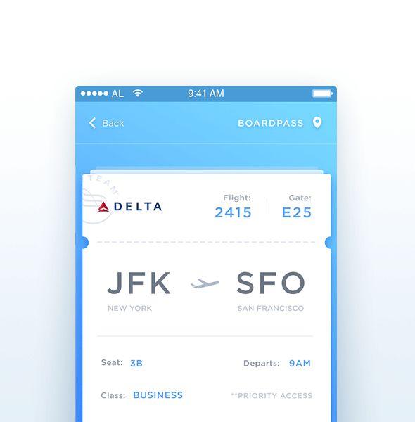 Boarding pass | Ui Parade | User Interface Design Inspiration