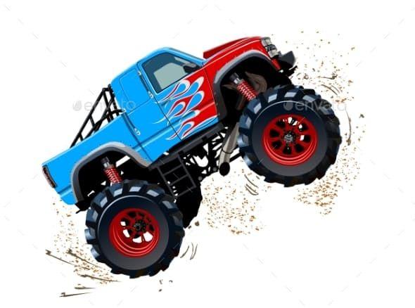 Cartoon Monster Truck Isolated On White Background Monster