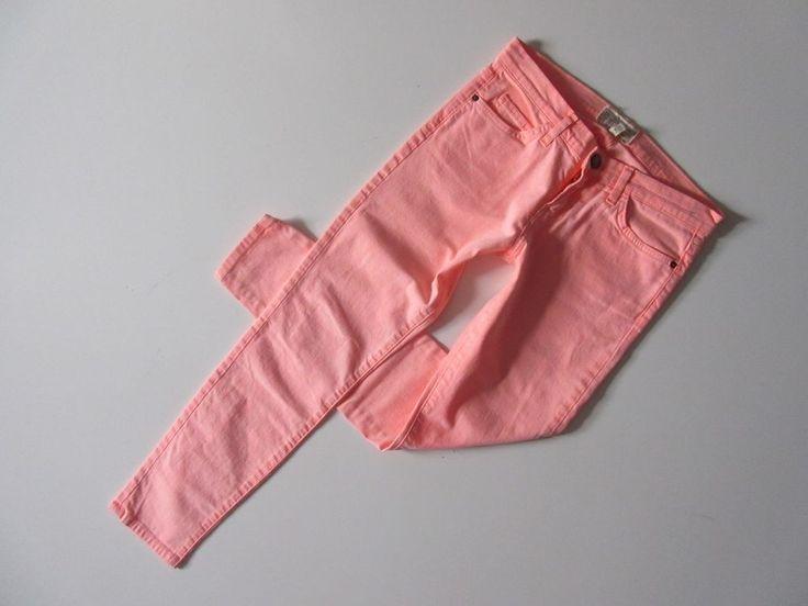 Current/Elliott The Stiletto in Orange Neon Stretch Skinny Ankle Crop Jeans 27 #CurrentElliott #SlimSkinny