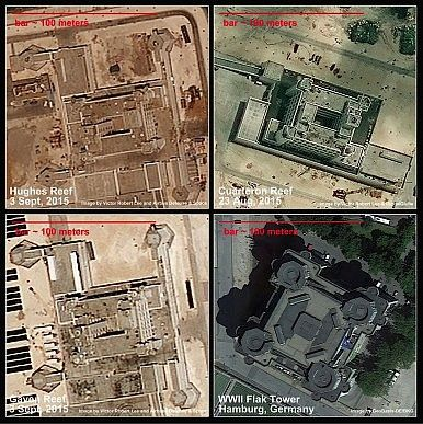 China military bases in Spratlys, South China Sea, resemble flak towers. http://thediplomat.com/2015/09/south-china-sea-satellite-imagery-shows-chinas-buildup-on-fiery-cross-reef/