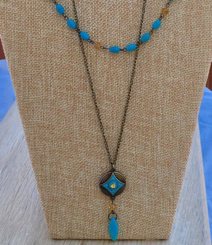 Layered blue and citrine necklaces by Loonstones on Etsy https://www.etsy.com/listing/491912137/layered-blue-and-citrine-necklaces