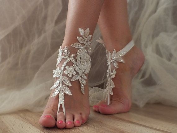 Beach shoes, bridal sandals,  silver frame lace sandals, wedding bridal, ivory accessories, wedding shoes, summer wear, handmade