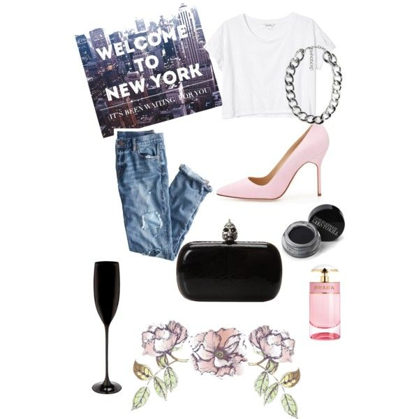 A fashion look from November 2014 featuring Monki t-shirts, J.Crew jeans and Manolo Blahnik pumps. Browse and shop related looks.