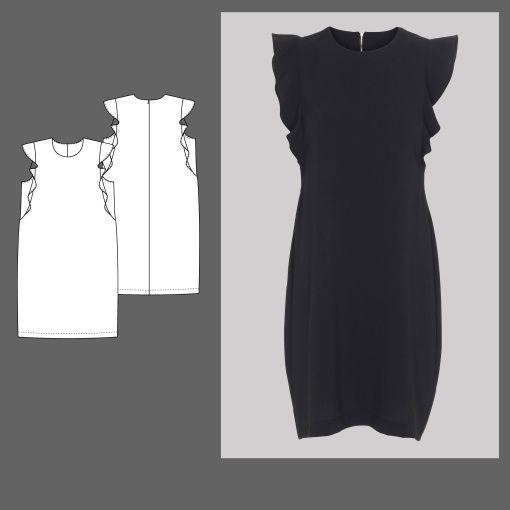 Kleid mit Volant Gr. 46