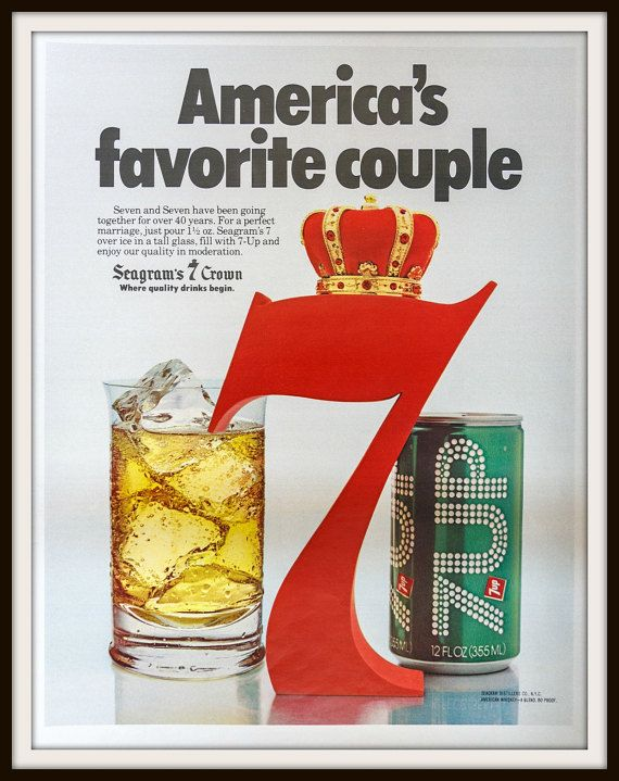 America's favorite couple. Seagram's 7 Crown 7Up 1979 7Up Seagram's 7 Crown Advertisement. Vintage beverage ad. Vintage 7up ad. Vintage Seagram's ad. Vintage alcohol ad