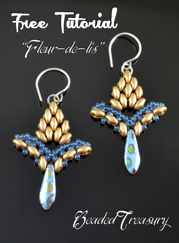 """FLEUR-DE-LIS""     beadwoven earrings     FREE TUTORIAL           © 2015 by Iulia Postică  from BeadedTreasury.com"