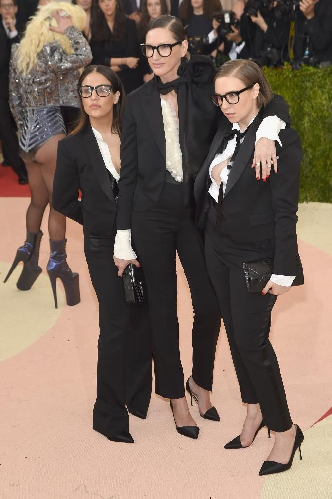 Lena Dunham, Jenni Konner, and Jenna Lyons in tuxedos at the 2016 MET Gala|Lainey Gossip Entertainment Update