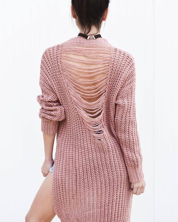 Make a statement they didn't see coming with this perfect blush sweater. #fashion #openback #style