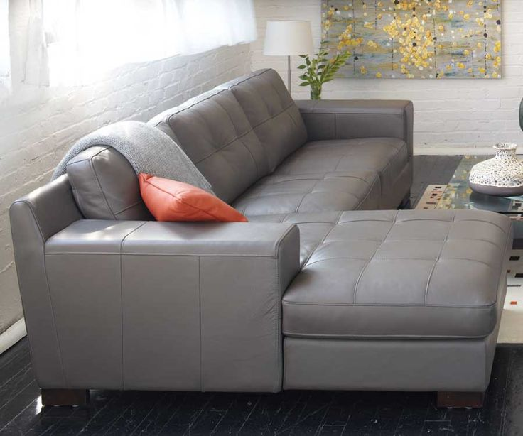 Charmant Montez Sectional In Gray Leather, Topstiched Seat And Back