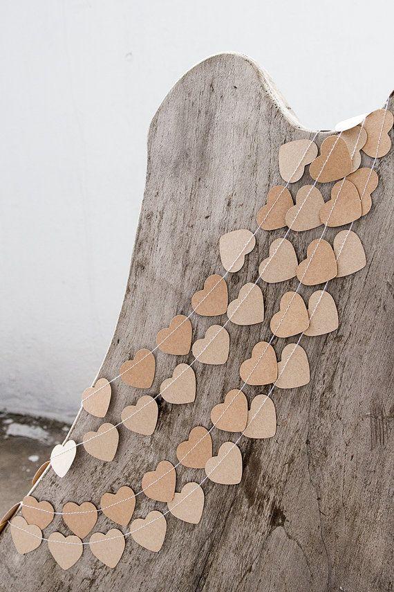 Kraft paper garland bunting, rustic wedding garland decor, heart garland, party home decor, nursery banner