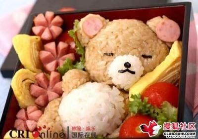 bonekanya imut deh... ternyata itu menu makanan nasi merah + nasi putih + sosis + telur dadar + sayuran segar... koq kliatanyya mirip boneka lagi tidur ya :p