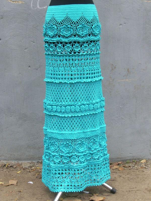 Beautiful long maxi-length crochet skirt with motifs and sampler stitching!! I love this!! ~Lee Ann. Crochetgottalove.blogspot.com