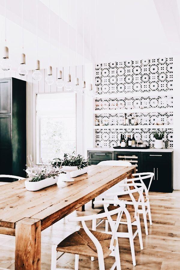 Home - Kitchen Decor with Farmhouse table + tile backsplash