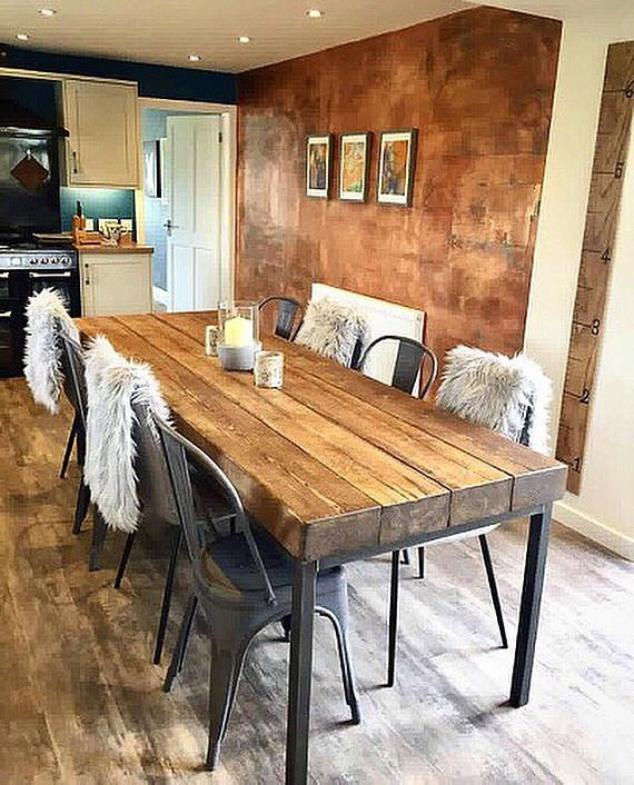 Industrial Chic Sleeper 10 12 Seater Dining Table Bar Cafe