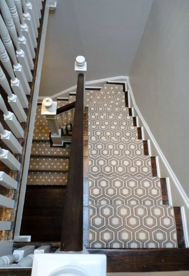 I love patterned carpets on the stairs!Decor, Traditional Staircas, Ideas, Staircas Design, Stairs Runners, Carpets, Geometric Design, Stair Runners, David Hicks