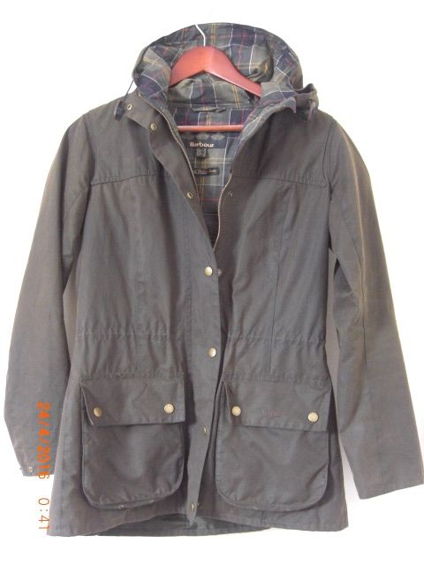 Barbour 'seaweed' Green Brown UK 12 for sale: http://www.ebay.co.uk/itm/Barbour-Vintage-Green-Durham-Waxed-Hooded-Jacket-Bellow-Pockets-Storm-Flaps-12-M-/352038759829?hash=item51f7252d95
