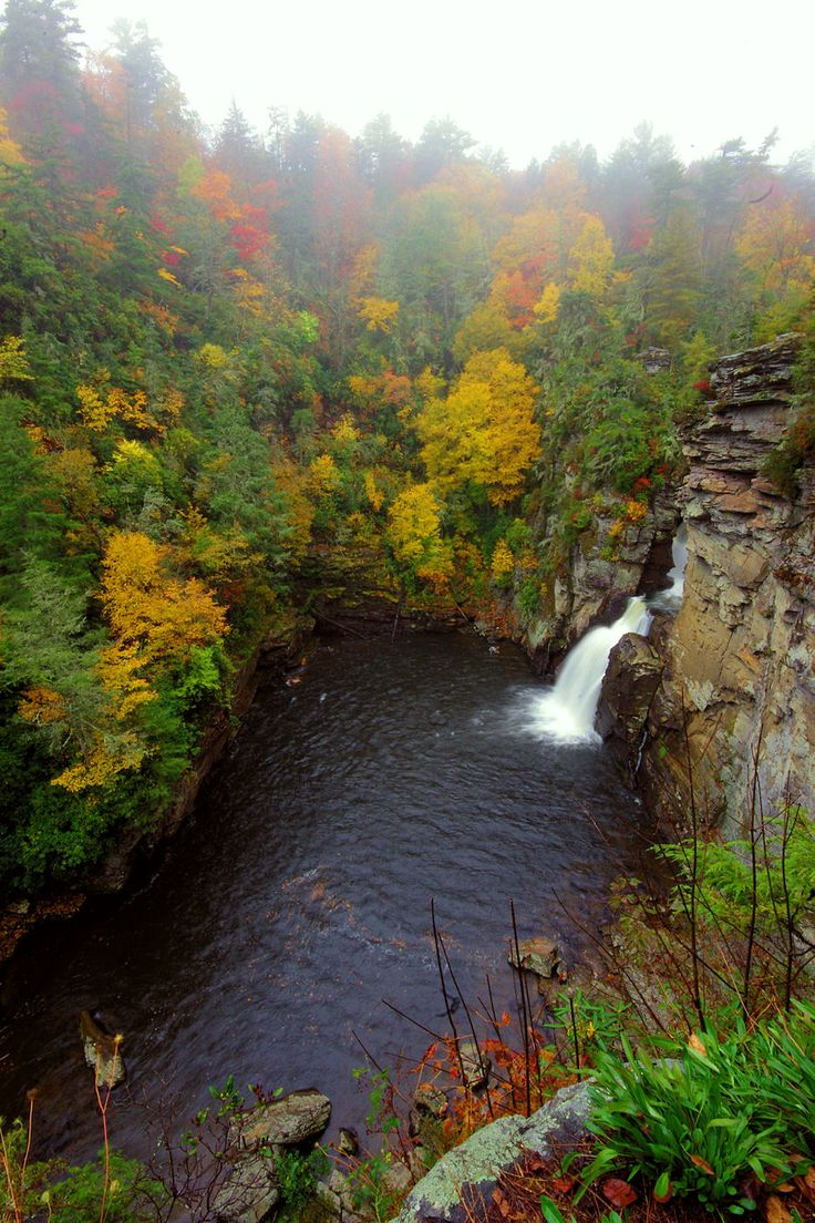 Linville Falls on the Blue Ridge Parkway in North Carolina with fall colors
