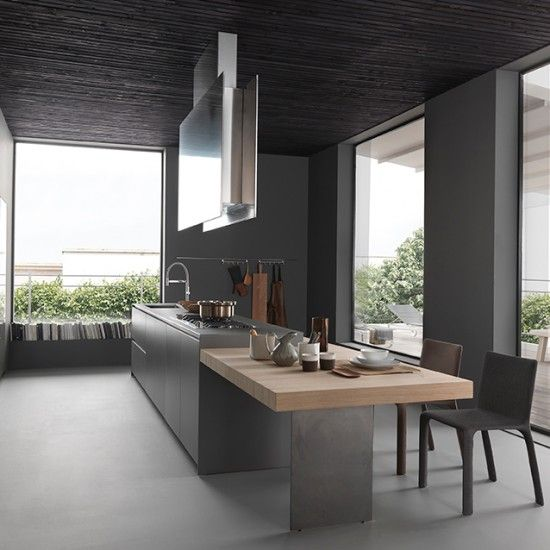 This kitchen by Modulnova celebrates the dark side of grey. This island is a fabulous set up if you love to entertain. It comes complete with a sink and hob for restaurant style cooking and has a lower level adjoined table for comfortable dining. Thttp://www.housetohome.co.uk/room-idea/picture/grey-kitchens/7