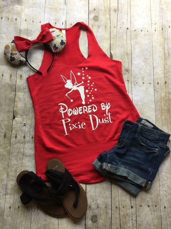 """Thank you for stopping by my shop! I am excited to have you here! Disney Addicts this top is for you!! My """"Powered by Pixie Dust"""" is perfect for your Disney vacation! ***This listing is for the tank t"""