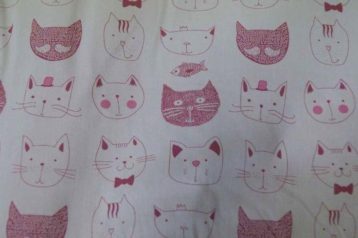 Stenzo17/18 3501-12 Cotton poplin Cat wit/roze