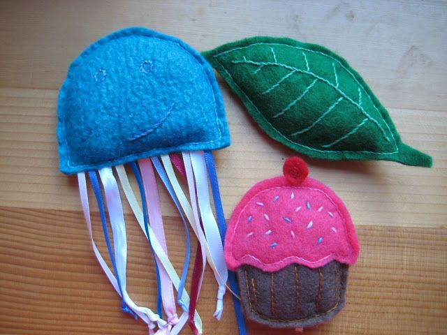 felt cat toys like all the ribbons for the jelly fish, being a scrapbooker I have so many ribbons