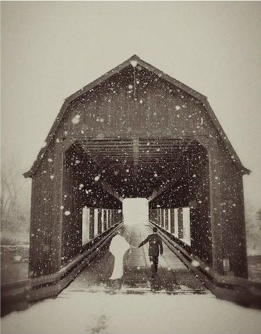 So pretty! Can also switch it up by photographing children holding hands!Ideas, Snow, Children, Pictures, Wedding Photos, Covered Bridges, Winter Weddings, Covers Bridges, Photography