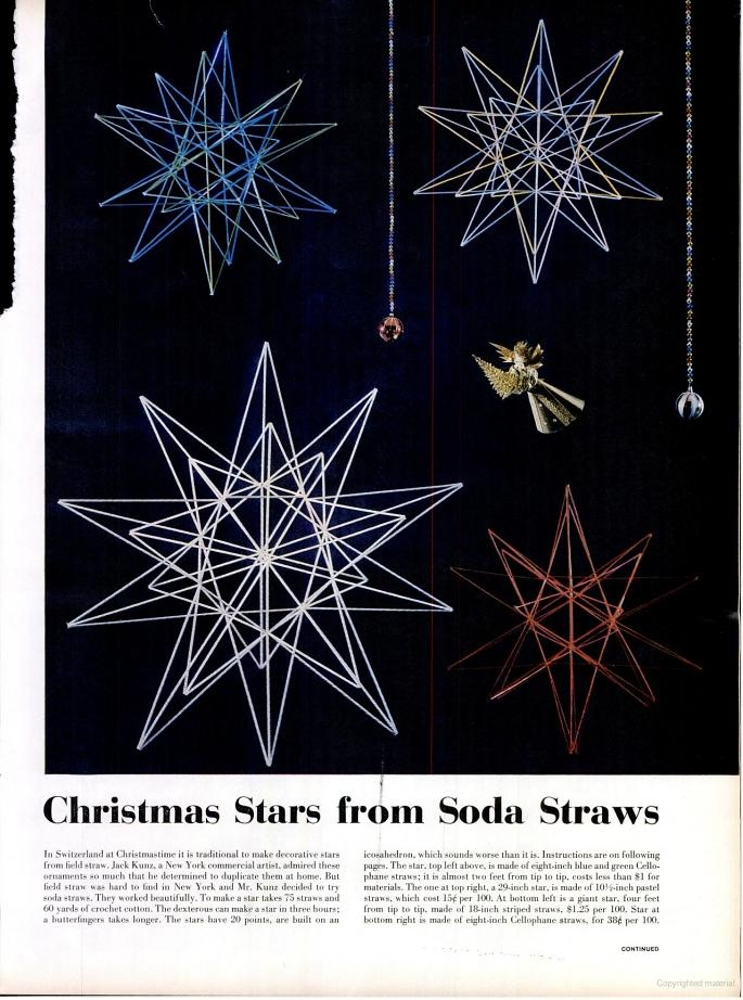 vintage how-to for making stars from soda straws.
